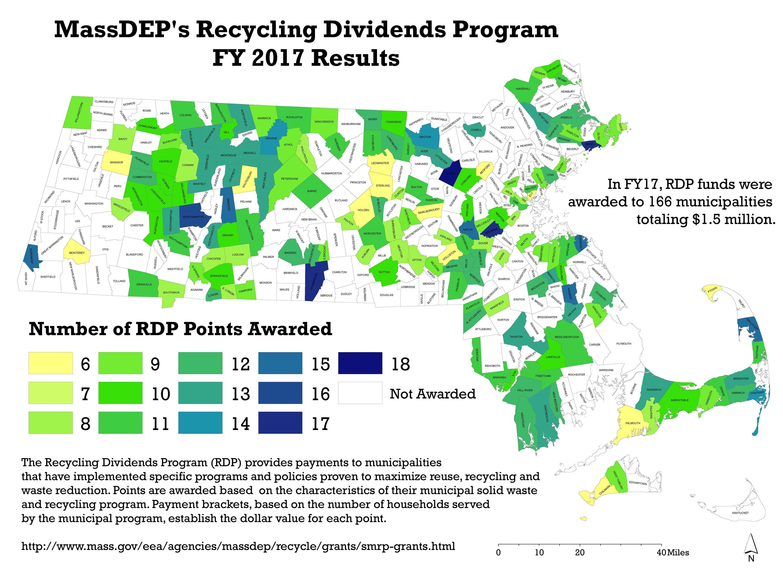 MassDEP - Recycling Dividends Map 2017